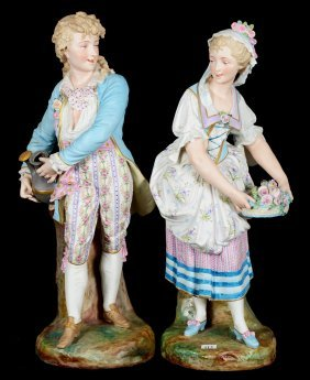 """Pair 22"""" German Bisque Figures - Young Woman In Floral"""