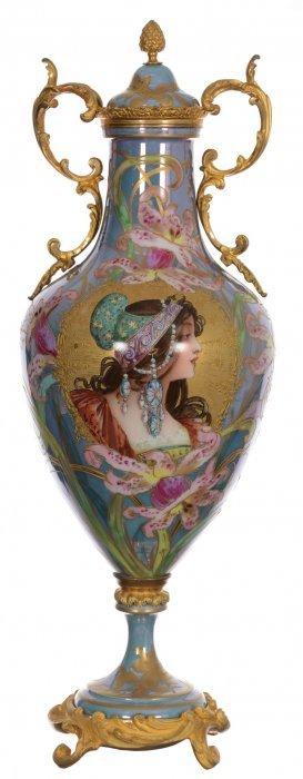 """21"""" Marked Sevres Handpainted Porcelain Pedestal"""