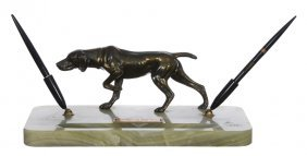 "5 1/2"" X 14"" Desk Set - Green Marble Base With Figure"