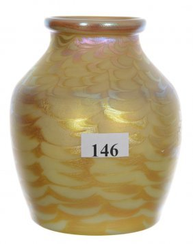 "4 1/2"" Unmarked Quezal Art Glass Vase - Yellow With"