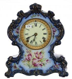 "12"" X 10"" Royal Bonn Style Mantel Clock - Cobalt Blue"