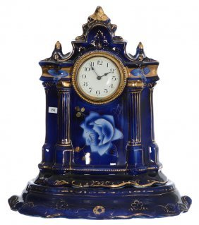 "18"" X 16"" Two-part Porcelain Mantel Clock - Cobalt Blue"