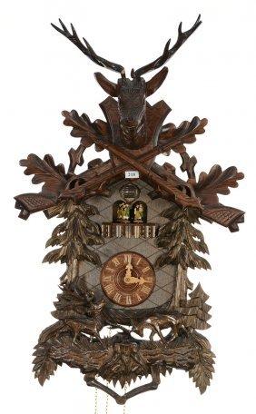 """28"""" X 16"""" German Cuckoo Clock - Deer Head And Crossed"""