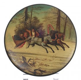 """3 1/2"""" Round Russian Lacquer Covered Box - Lid Has"""
