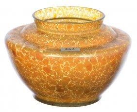"5"" X 7"" Unmarked Loetz Style Art Glass Vase - Gold"