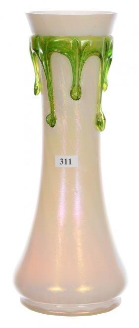 "12 1/2"" Loetz Style Art Glass Vase - Iridescent Cream"