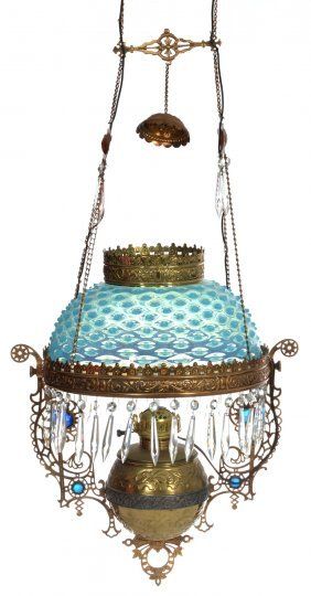 Victorian Hanging Parlor Lamp - Blue Opalescent Hobnail