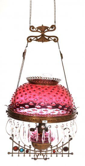 "Hanging Parlor Lamp - 14"" Cranberry Hobnail Art Glass"
