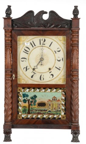 "29"" X 17"" Carved Column And Splat Shelf Clock - Eli"