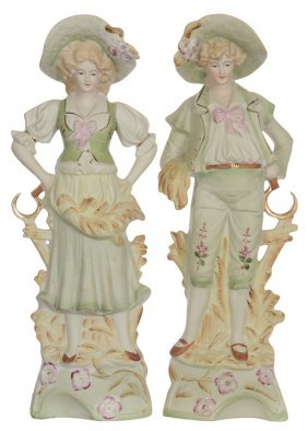 "Pair 13"" Japanese Bisque Figurines Of Man And Woman"
