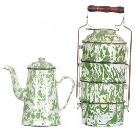 "(2) Green And White Granite Ware Items - (1) 15 1/2"""