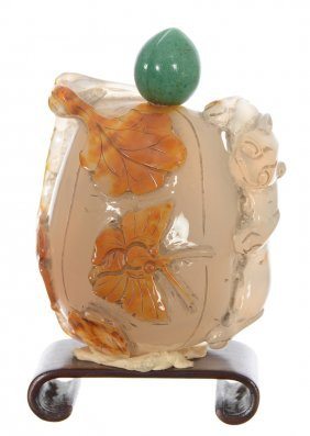 """2 3/4"""" White And Brown Carved Stone Snuff Bottle -"""