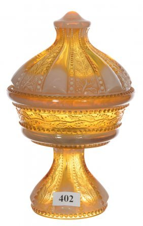 """Original 7 1/4"""" Holly Amber Covered Compote By"""