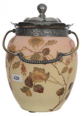 "7 1/2"" Mt. Washington Burmese Art Glass Biscuit Jar -"