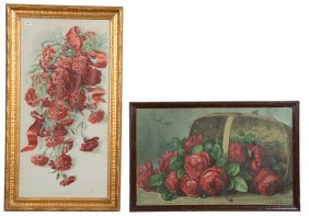 (2) Large Framed Vintage Floral Lithograph Prints - (1)