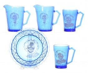 (5) Shirley Temple Cobalt Blue Glass Items
