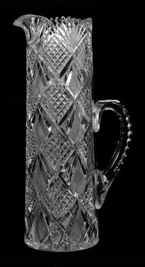 "12"" American Brilliant Cut Glass Tankard"
