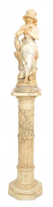 """Wonderful 66"""" 19th Century Italian Marble Sculpture Of"""