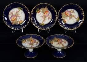Five Piece Limoges Plate And Compote Set