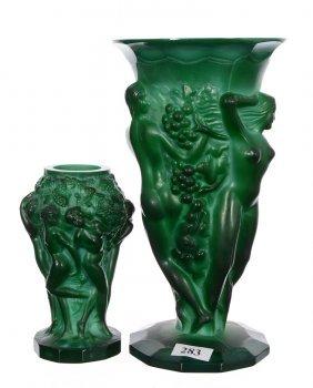 (2) Green Malachite Art Glass Vases