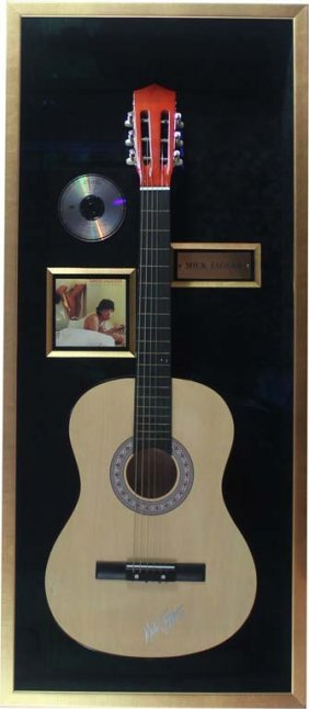 Acoustic Guitar Autographed By Mick Jagger
