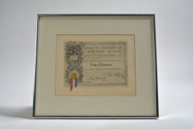 Duke Ellington's Membership Certificate To The American