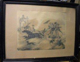 Coppia Di Incisioni Incorniciate Raffiguranti Pers