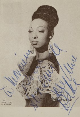 Baker, Josephine  Foto Cartolina Postale Con Dedica