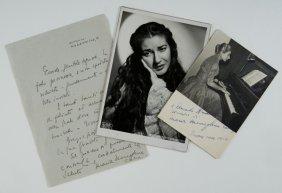 Callas, Maria Fotografie Autografe Con Dedica E Let
