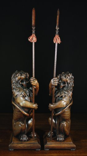 A Pair Of 19th Century Carved Oak Lions Sejant, Hol