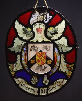 An 18th Century Irish Oval Stained Glass Armorial P