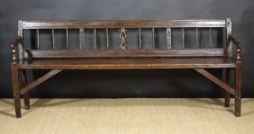 An Early 19th Century Swiss Long Bench With Shaped