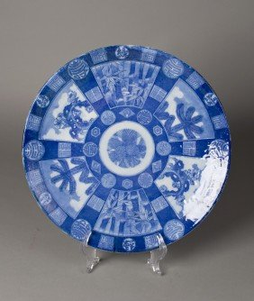 A Fine Japanese Blue & White Porcelain Charger
