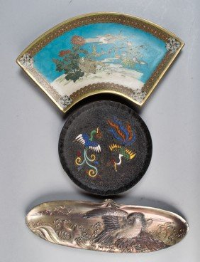 (3) Pcs Japanese Bronze And Enamel