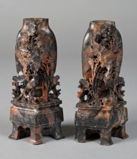 Pr. Of Finely Carved Chinese Soapstone Vases