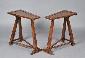 Pr. Triangle Form Oak Side Tables