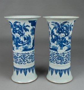 Pr. Chinese Blue & White Gu Porcelain Vases