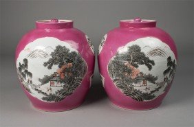 Pr. Of Chinese Porcelain Covered Jars