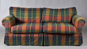 A Baker Andirondek Style Plaid Couch