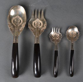 (4) Islamic Silver & Horn Handle Serving Pieces