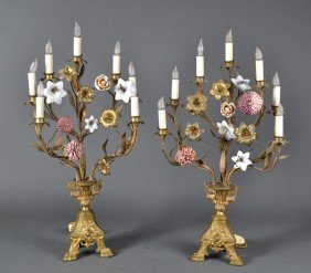 Fine Pair Of Gilt Bronze And Enameled Candelabras