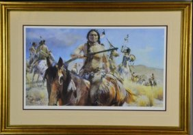 Guy Manning Litho Of Native American - Signed
