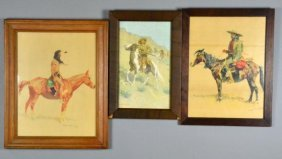 (3) Frederic Remington Lithographs On Paper