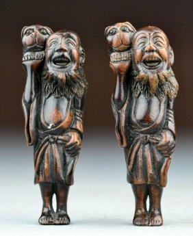 (2) Japanese Meji Period Carved Rosewood Netsuke