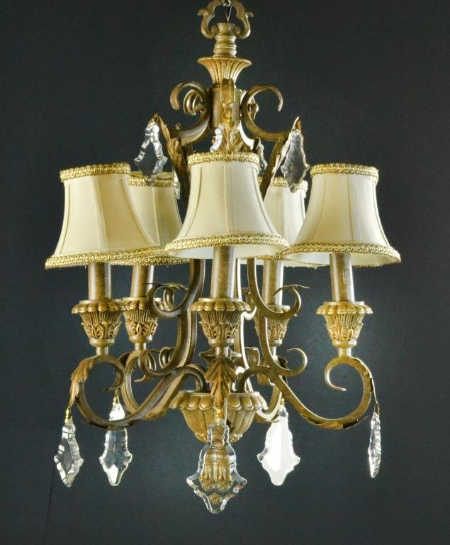 Do Wall Sconces Have To Match Chandelier : (3) Gilt Metal Chandelier & Matching Wall Sconces : Lot 37
