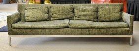 Baker Mid-Century Modern Chrome & Tweed Sofa