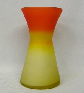 Frosted Amberina Vase 7'' Tall