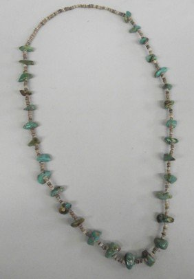 1960s Navajo Turquoise Shell Heishi Necklace