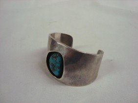 Navajo Sterling Nevada Turquoise Cuff Bracelet