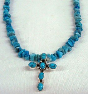 Navajo Sterling Turquoise Cross Necklace - Begay